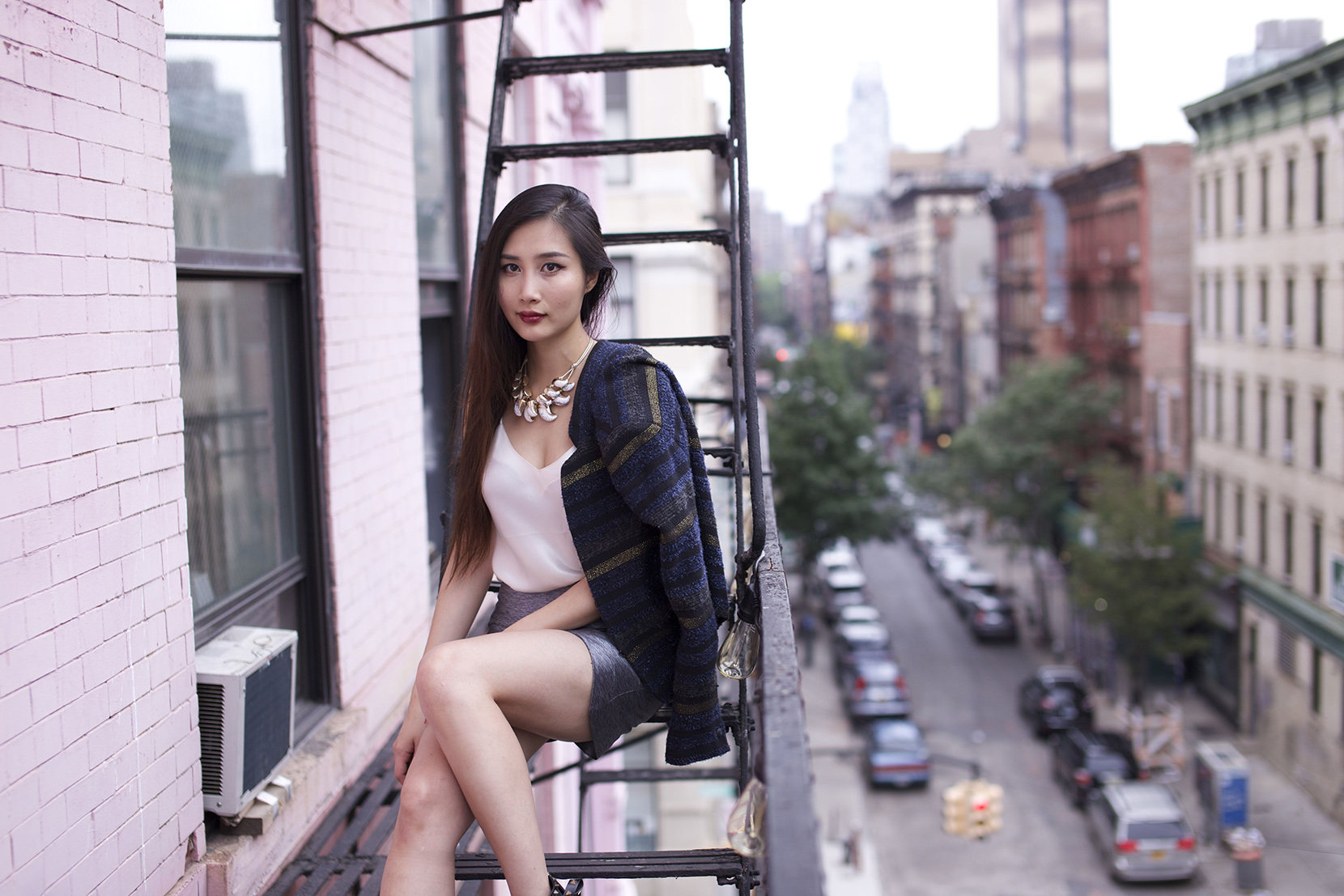 fire escape fashion outfit shoot