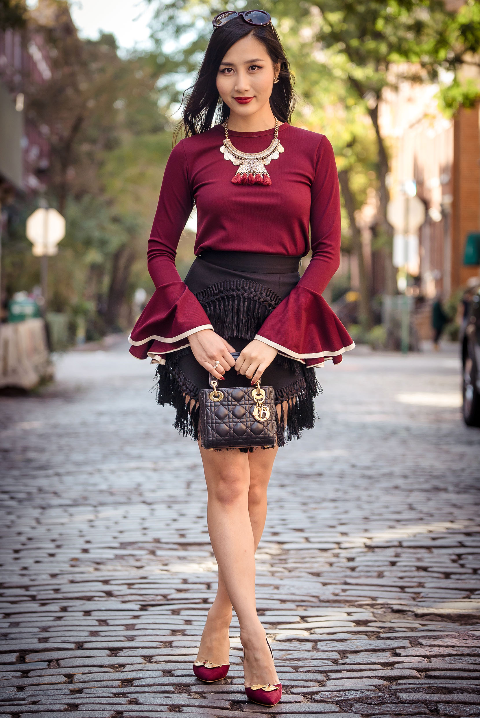 Wear the Trend: Bell Sleeves | Storets Wide Cuff Knit Top | Storets Tassel Skirt | Of Leather and Lace | A Fashion Blog by Tina Lee