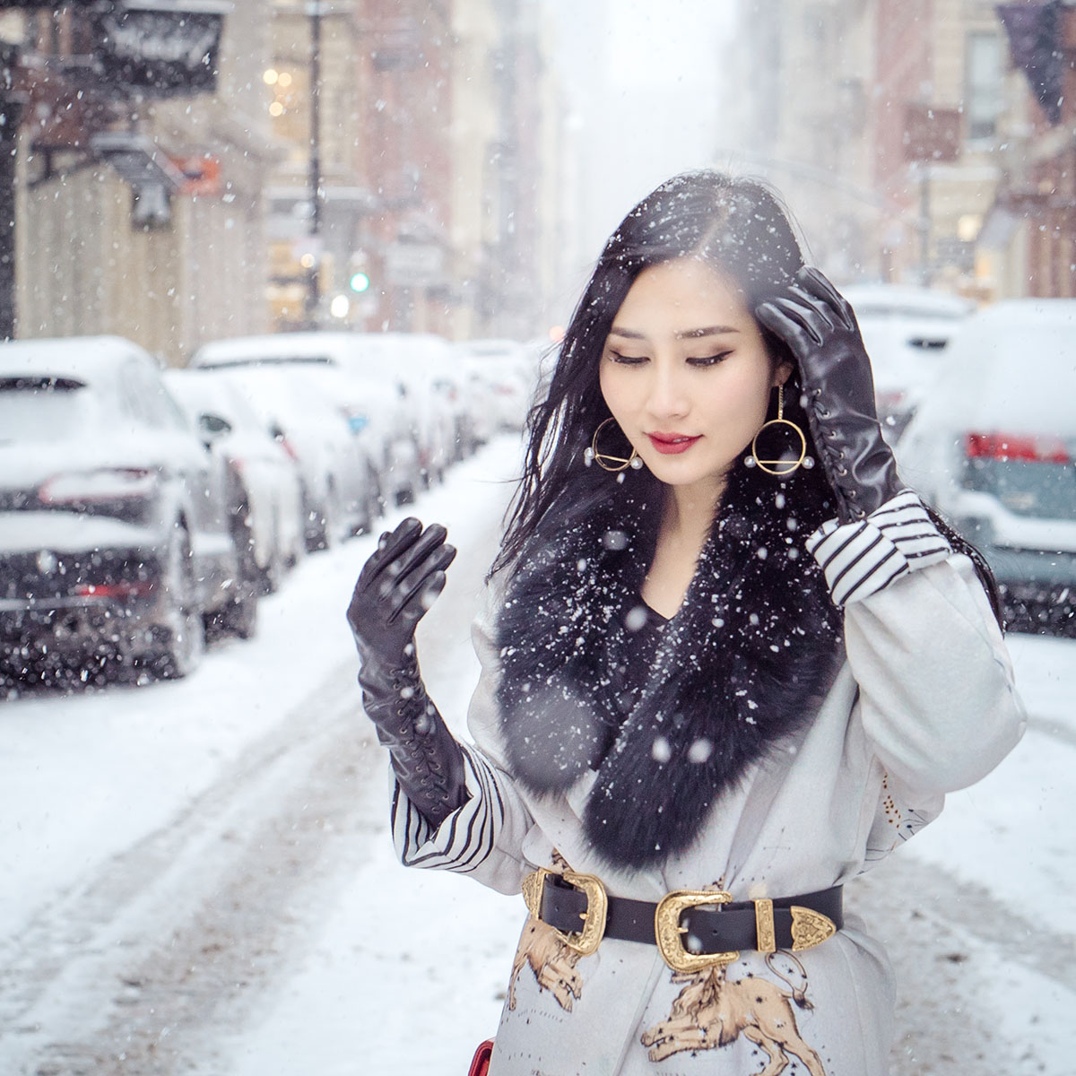 of leather and lace sandra mansour zodiac coat in snow soho b-low the belt