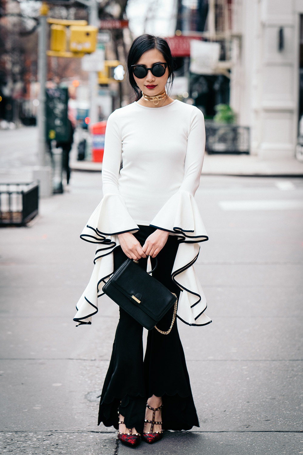 Go Big or Go Home: Flared Everything   Storets Gemma Flowy Top   Forever21 Flared Pants   Of Leather and Lace   A Fashion Blog by Tina Lee