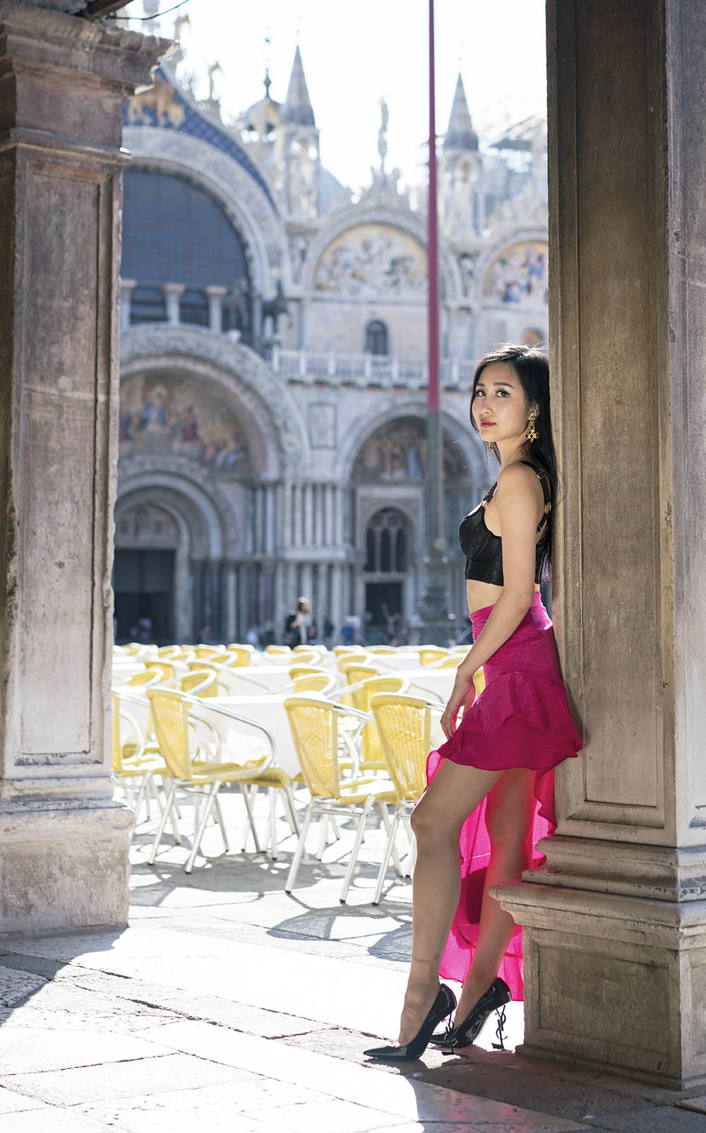 Black Bralette & Pink Ruffle Skirt at Piazza San Marco, Venice, Italy | Of Leather and Lace