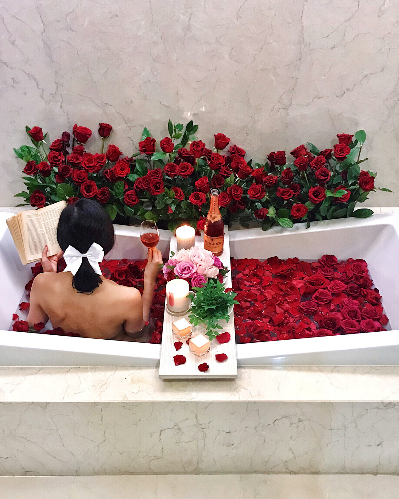 9 Days of Valentine - Day 1: Love Yourself | Of Leather and Lace - Fashion Blog by Tina Lee | rose bath, luxurious bath, bathtub goals, home decor, bathroom decor inspiration